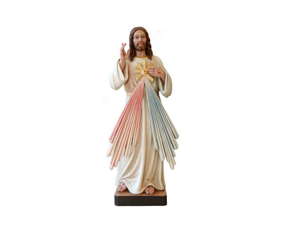 Divine Mercy Hand Carved Hand Painted Wood Statue 5 1/2