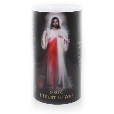 Large Divine Mercy LED Candle Timer 4 x 7