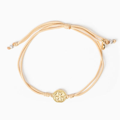 Empower Seed of Life Anklet Gold on Tan Cord
