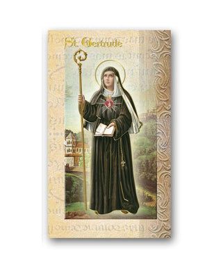 Biography Card of St. Gertrude - Unique Catholic Gifts