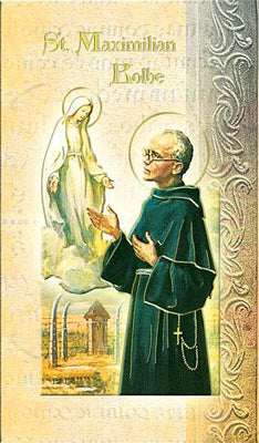Biography Card of St. Maximilian Kolbe - Unique Catholic Gifts