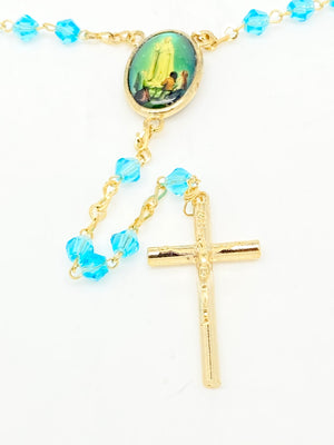Our Lady of Lourdes Lite Blue Crystal Rosary