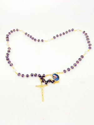 Seven Sorrows Purple Crystal Rosary ( Gold) - Unique Catholic Gifts