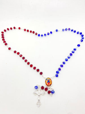 Our Lady Undoer of Knots Purple and Red Crystal Rosary - Unique Catholic Gifts