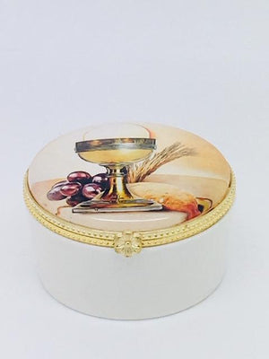 Round Porcelain Rosary First Communion Box with Glass Enclosed Top