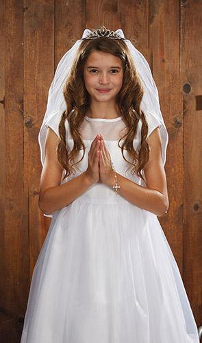 Crystal Tiara First Communion Veil