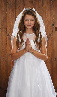 Crystal Tiara First Communion Veil - Unique Catholic Gifts