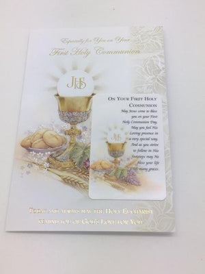 Especially for You on Your First Holy Communion Card with Holy Card - Unique Catholic Gifts