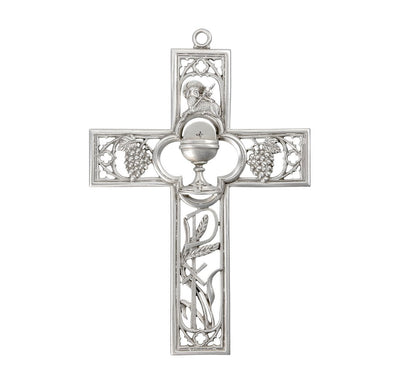 Genuine Pewter First Communion Cross with Chalice (6