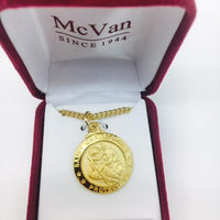 "Gold over Sterling Silver St Christopher Medal.  (3/4"") on 20"" Gold plated Chain. - Unique Catholic Gifts"