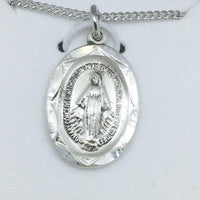 "Sterling Silver Miraculous Medal (3/4""x 1/2"") on 18"" chain - Unique Catholic Gifts"