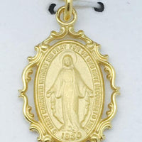 "Gold over Sterling Silver Miraculous Medal (1"") on 18"" Gold Plated Chain - Unique Catholic Gifts"