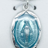 "Sterling Silver with Blue Enamel Miraculous Medal (3/4"") on 18"" chain. (L602) - Unique Catholic Gifts"