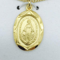"Gold over Sterling Silver Miraculous Medal (5/8"") on 18"" Gold plated chain. - Unique Catholic Gifts"