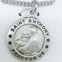"Sterling Silver St Anthony (3/4"") on 20"" Chain - Unique Catholic Gifts"