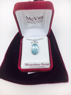 Sterling Silver with Blue Enamel Miraculous Medal (3/4