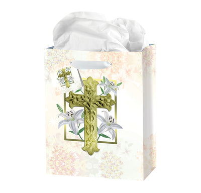 Medium Easter Lily Gift Bag With Tissue - Unique Catholic Gifts