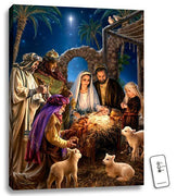 "Mini Nativity Illuminated Canvas Print (8 x 6"") - Unique Catholic Gifts"