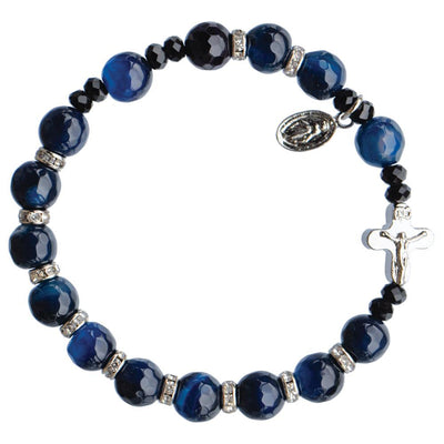 Genuine Blue Agate Rosary Bracelet (8 mm) - Unique Catholic Gifts