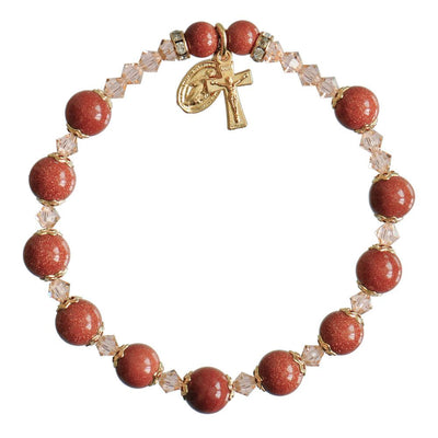 Genuine Goldstone Rosary Bracelet (8 mm) - Unique Catholic Gifts