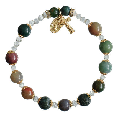 Genuine Multi-color Onyx Rosary Bracelet (8 mm) - Unique Catholic Gifts