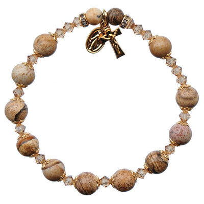Genuine Picture Jasper Rosary Bracelet (8 mm) - Unique Catholic Gifts