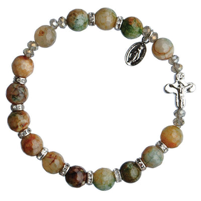 Genuine Sierra Agate Rosary Bracelet (8 mm) - Unique Catholic Gifts
