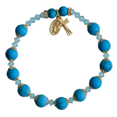 Genuine Turquoise Rosary Bracelet (8 mm) - Unique Catholic Gifts