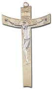 "Gold Plated Contemporary 5 1/2"" Metal Crucifix - Unique Catholic Gifts"