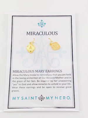 Gold Miraculous Mary Earrings - Unique Catholic Gifts