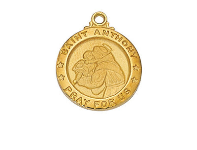 St Anthony 18KT Gold Plated Medal 5/8