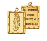 "Gold over Sterling Silver Scapular Medal 3/4"" - Unique Catholic Gifts"