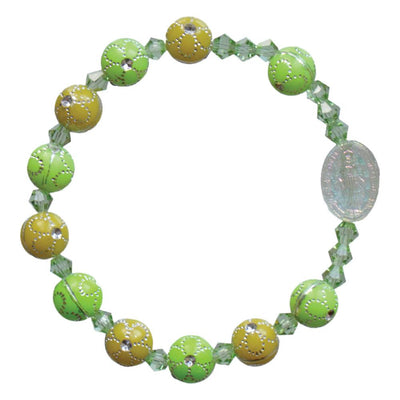 Green Flower Acrylic Children's Rosary Bracelet (8mm) - Unique Catholic Gifts