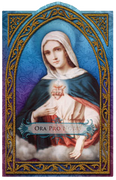 "Ora Pro Nobis ""Pray for Us""   Immaculate Heart of Mary Holy Card (embossed)"