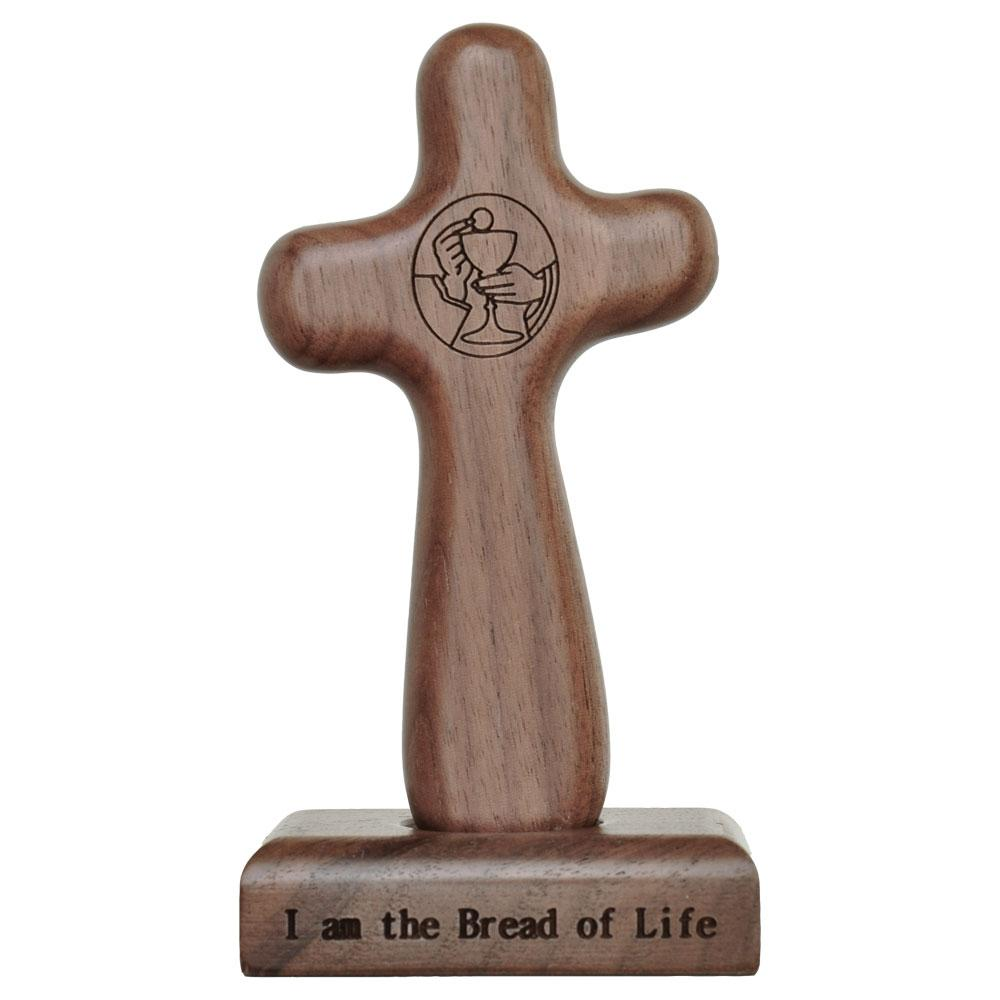 "Eucharist Hand Cross with Magnetic Base (5"") - Unique Catholic Gifts"