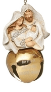 "Holy Family with Gold Bell Ornament  (3 3/4"") - Unique Catholic Gifts"