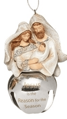 Holy Family with Silver Bell Ornament  (3 3/4