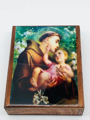 St. Anthony Wood Rosary Box with Wood Rosary - Unique Catholic Gifts