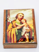 St. Joseph Wood Rosary Box with Wood Rosary