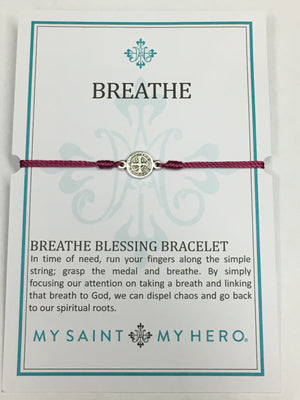Breathe Blessing Bracelet Silver Medal on Fusia Cord