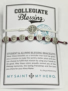 Student & Alumni Blessing Bracelets Silver Medal on White and Merlot Cord