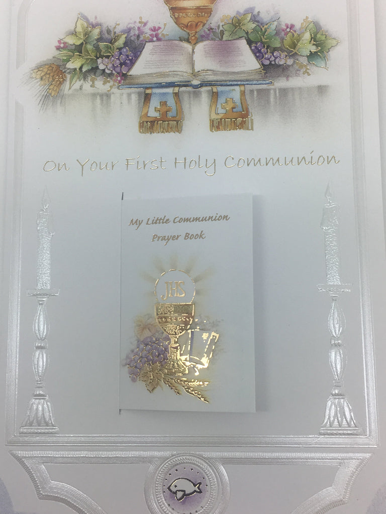 First Holy Communion Greeting Card Embossed Unique Catholic Gifts