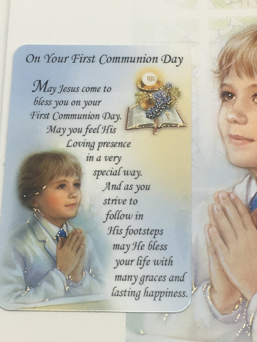 Boys Deluxe First Holy Communion Greeting Card Unique Catholic Gifts
