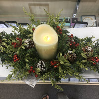 "Christmas Mistletoe Table Centerpiece with LED Ivory Candle (24"" Spray) - Unique Catholic Gifts"