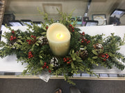 "Christmas Mistletoe Table Centerpiece with LED Ivory Candle (24"" Spray)"