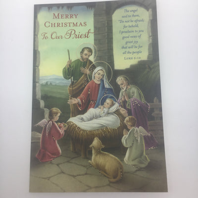 Merry Christmas to Our Priest Greeting Card - Unique Catholic Gifts