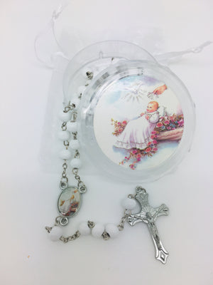 Baptism Girl Wood Rosary w/ Matching Box & Organza Bag - Unique Catholic Gifts