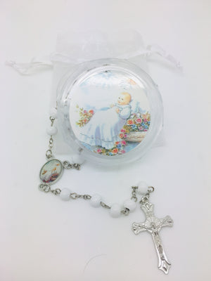 Baptism Boy Wood Rosary w/ Matching Box & Organza Bag - Unique Catholic Gifts