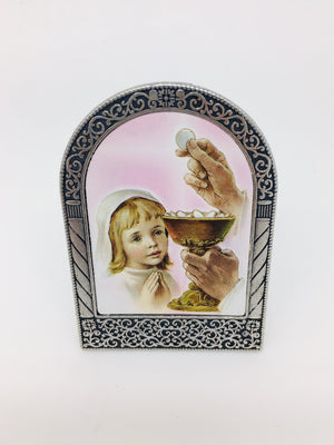 First Communion Girl Easel Standing Plaque - Unique Catholic Gifts