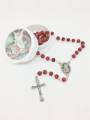 Guardian Angel Wood Rose Scented Rosary in Matching Box - Unique Catholic Gifts